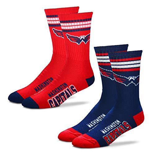 Washington Capitals Mens Socks - For Bare Feet Men's NHL (2-Pack)-4 Stripe Deuce Crew Socks-Washington Capitals-Large