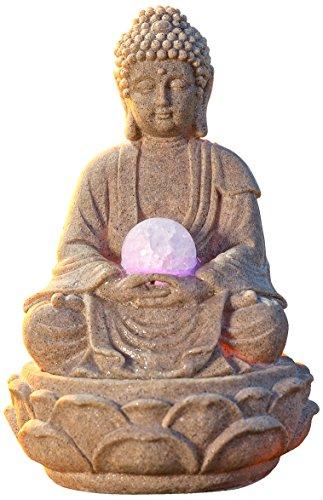 PAJOMA 53899 Zimmerbrunnen Buddha Lotus, LED Beleuchtung, Kunstharz, Höhe 30 cm