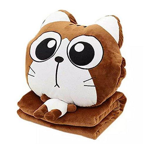 NAS AOSTAR Pillow Blanket Plush Cat Stuffed Animal Toys Throw Pillow and Blanket Set with Hand Warmer Design. (Brown Big Eyes)