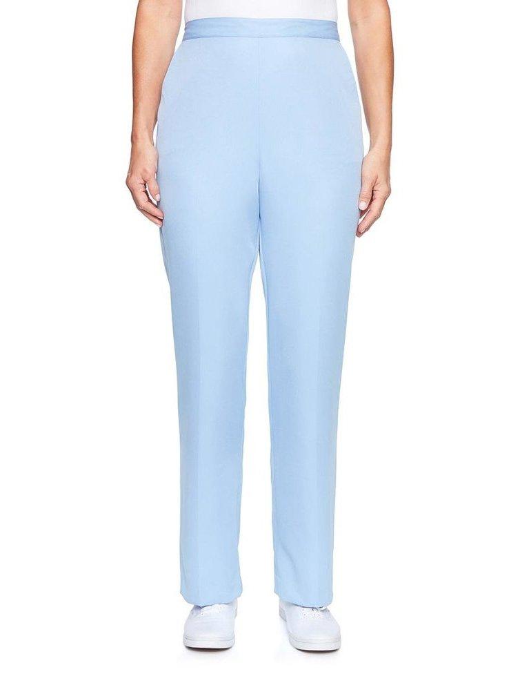 Alfred Dunner Women's Petite Daydreamer Solid Microfiber Pants - Medium Length, Blue, 12 Petite
