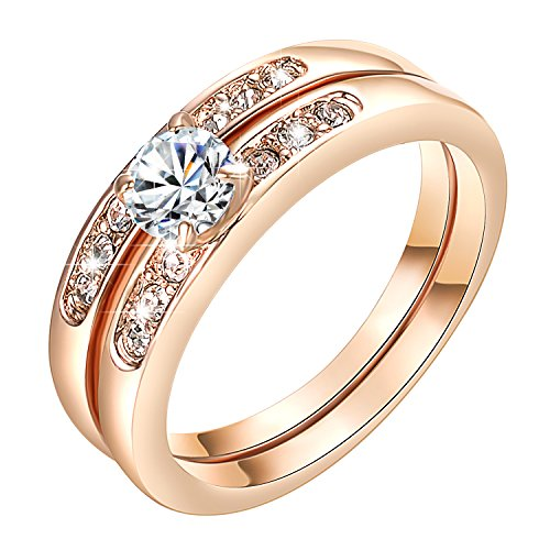 Yoursfs 18k White Gold Plated Engagement Rings Silver - 8