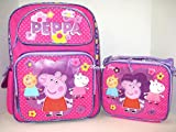 New Peppa Pig Allover Flower Small Toddler Rolling Backpack with Matching Lunch Bag