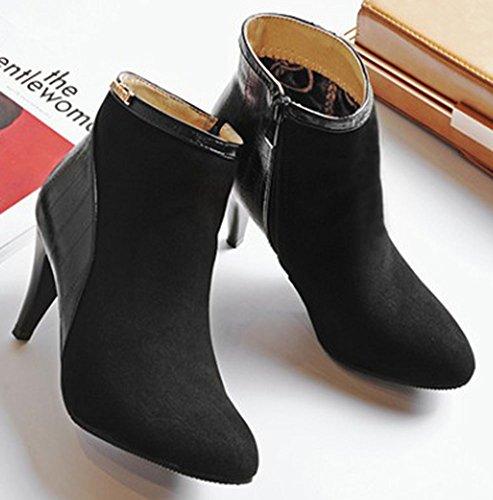 Schwarz Stiletto Easemax Spitze Zip Sexy Kurze Up Heels Damen Zehenseiten mit Knöchelhohe Stiefeletten qxqFTwHB7