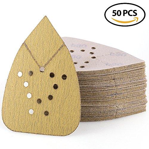 Sanding Sheets 80 Grit Hook and Loop Sandpaper - LotFancy 12 Holes Mouse Detail Palm Sander Paper, Pack of 50