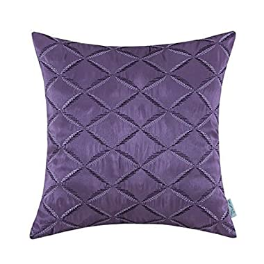 CaliTime Pillow Shell Cushion Cover Faux Silk Diamonds Chain Geometric Embroidered 18 X 18 Inches Purple