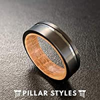 6mm Tungsten and Wood Rings for Men Unique Whiskey Barrel Ring Mens Wedding Band Wood Inlay Ring - Bourbon Barrel Ring