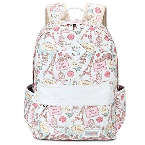 Bagerly Lightweight Canvas School Shoulder Backpack Laptop bag Travel Backpack (Pink)