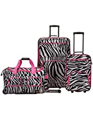 Rockland 3 Piece Luggage Set, Pink Zebra, One Size