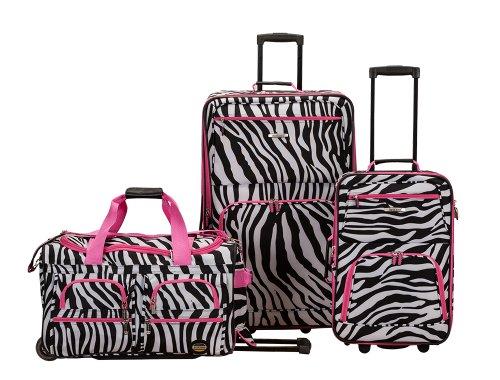 Rockland 3 Piece Luggage Set, Pink Zebra, One Size by Rockland