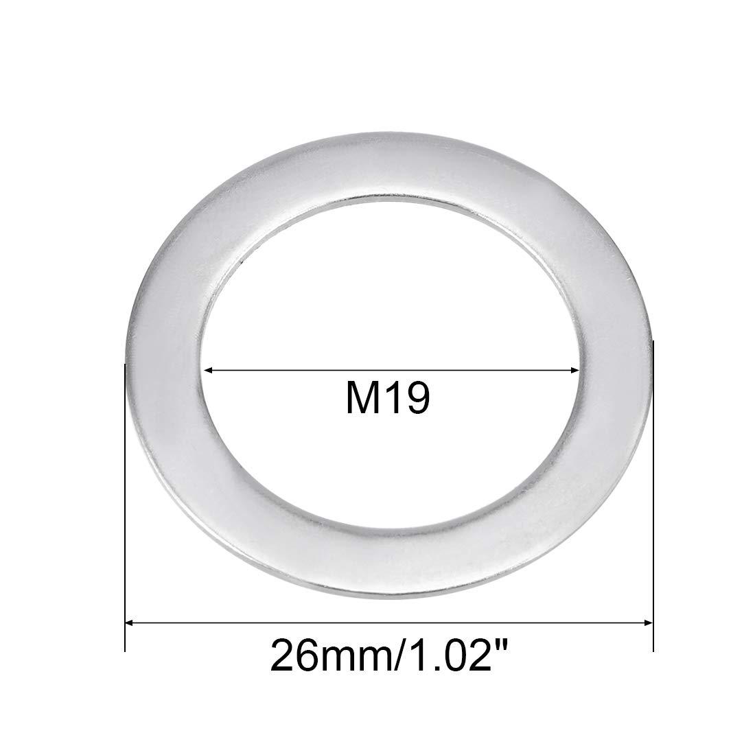 sourcing map 5Stk 304 Rostfreier Stahl Flach Waschmaschine f/ür Schraube Bolzen 19 x 26 x 0,8mm