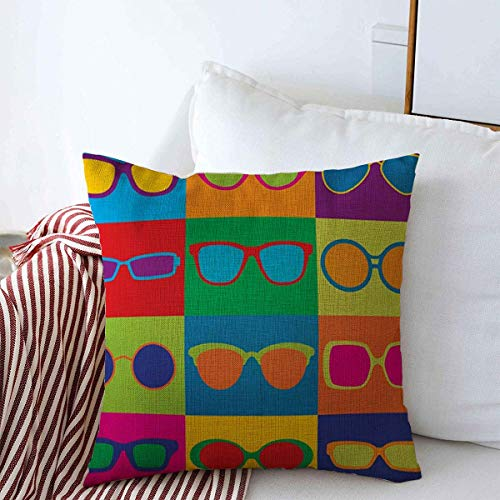 Staroapr Throw Pillows Cover 20 x 20 Inches Colorful Pattern Pop Styled Generic Eyeglass Beauty 70S Sunglasses Eye Frames 1950S Colored 1960S 80S Cushion Case Cotton Linen for Fall Home Decor