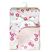 KIKI & ANNA MINK WITH SHERPA FLEECE BABY BLANKET 30x40 SOFTEST-PERFECT FOR SWADDING AND STROLLING FLUFFY GIFT BLANKET (PINK)
