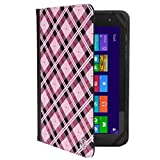 VanGoddy Mary 2.0 Standing Portfolio Case for DigiLand 10.1 inch Tablets, Pink Checker