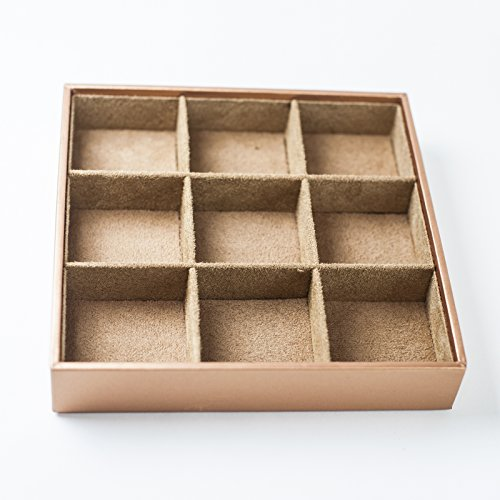HUJI Stackable Jewelry Trays Organizer Storage Rings Earrings Bracelets Watches Necklaces (1, Camel Brown Stack-able Trays) by Huji (Image #4)