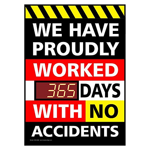 ComplianceSigns PVC Digital Safety Awareness Scoreboard, 28 x 20 with Red LED Counter, Black