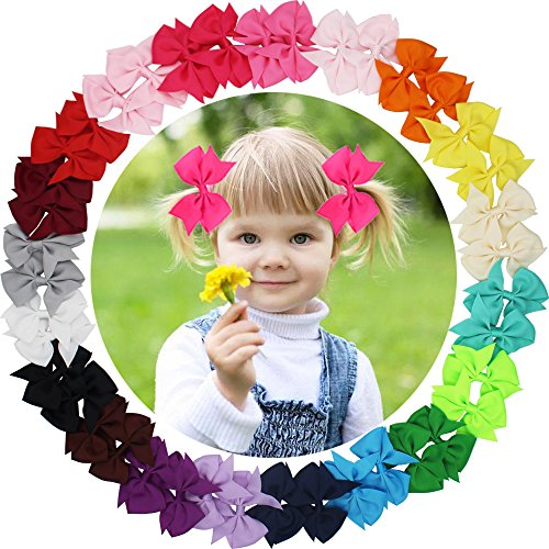 40 Pack(20 Pair) 3.5 Inch Hair Bows Girls Children Grosgrain Ribbon Alligator Hair Clips in Pair