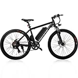 """Merax 26"""" Aluminum Electric Mountain Bike Shimano 7 Speed E-Bike, 36V Lithium Battery 350W Electric Bicycle for Adults"""