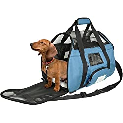 KritterWorld Soft Sided Pet Travel Carrier for Small Dogs and Cats Puppy Small Animals Airline Approved | Removable Sherpa Lining Bed, Built-in Collar Buckle, Lost & Found Tag Included by Blue