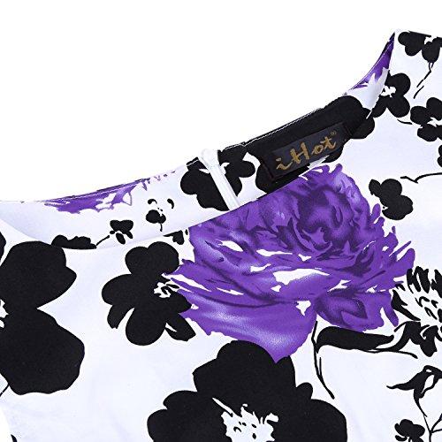 Floral Robe Sans Violet Swing Manche Rétro Cocktail 1950s Imprimée De Rockabilly ONnvmPwy80