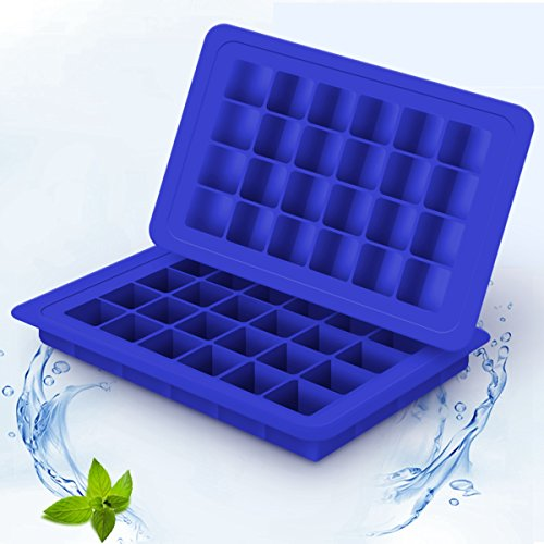 BTSHOW Ice Cube Trays BPA Free Silicone Ice Mold for Mini Fridge 48-Cavity Mini Square Cubes 2-Pack Chocolate Candy Molds Small Baby Food Storage Conatiners(Blue)