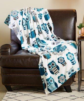 "Marlene Plush Supreme Softness Teal Owls & Flowers Blanket Throw 50""x70"" (100% Polyester)"