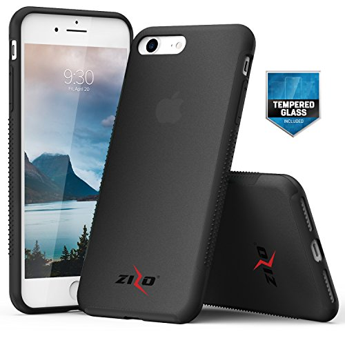 Zizo Flux 3.0 Series iPhone 8 Case Frosted Rubber Back with Tempered Glass Screen Protector iPhone 7 case Smoke