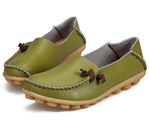 Lucksender Damen Weichleder Comfort Driving Loafers Schuhe Glas Grün