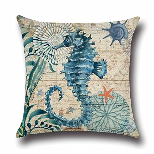 Aremetop Outdoor Beach Mediterranean Style Coastal Theme Throw Pillow Covers Cotton Linen Pillow Case Cushion Cover Home Office Decorative 18 X 18 Inches Marine Life (Sea Horse) ()