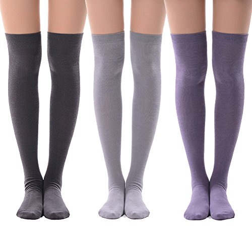 Over Knee High Socks for Halloween Costume Play, MEIKAN Boots Fashion Opaque Casual Socks 3 Pairs (Medium Purple,Light Grey,Dim -