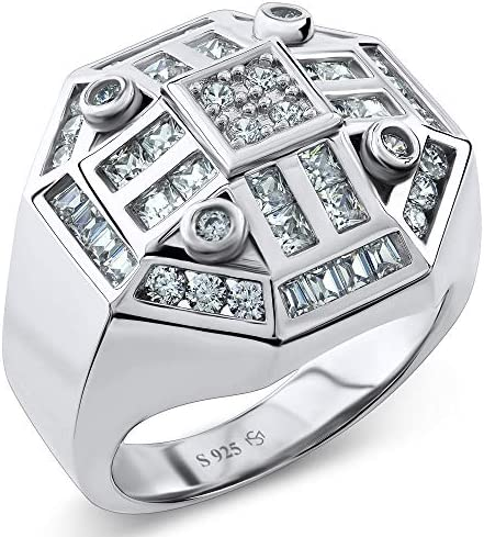 Men's Sterling Silver .925 Octagon Ring Featuring 52 White Round Square and Baguette Cubic Zirconia (CZ) Stones. Hip Hop Jewelry, Bling Ring, Eye Catching Design