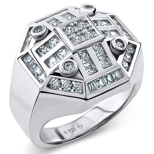 Men's Sterling Silver .925 Designer Octagon Ring Featuring 52 Round Square and Baguette Cubic Zirconia (CZ) Stones ()