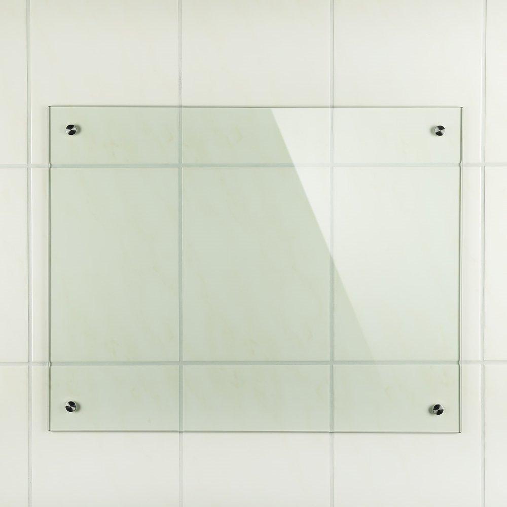 transparente cristal transparente Protector de vidrio contra salpicaduras Melko/® Cristal de seguridad transparente ESG de 6 mm para los azulejos de la cocina Material de montaje. 80 x 50 cm