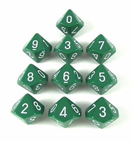 Chessex Dice Sets: Opaque Green with White - Ten Sided Die d10 Set (10) (10 Dice Sided Ten)