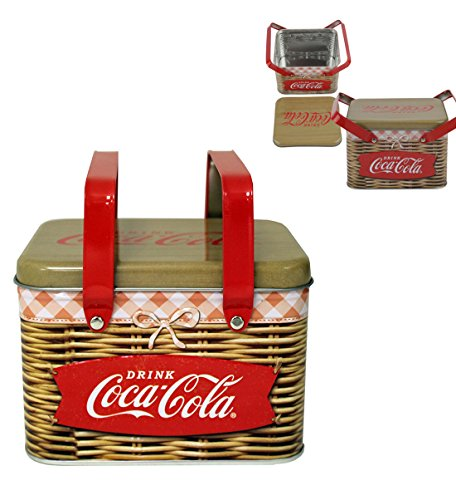 "Coca Cola Embossed Tin Box, Basket with Handles 6"" x 5"" x 4.5"""