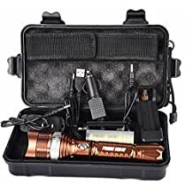 Compia-PROBE SHINY Adjustable Focus T6 Re-chargeable 6000 Lumens 3 Modes Shadowhawk Super Brigh Flashlight Torch Set(1x18650 Battery+Battery Holder+Car Charger+AC charger(US PLUG)+Flashlight Nylon Pouch+USB Line+Box) (Flashlight Set)