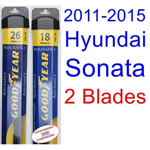 Cheap 2011-2015 Hyundai Sonata Replacement Wiper Blade Set/Kit (Set of 2 Blades) (Goodyear Wiper Blades-Assurance) (2012,2013,2014) for cheap