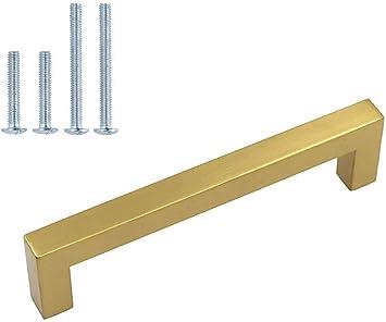 Lot of 4 brushed gold vintage brass recessed handles drop DRAWER PULLS hardware