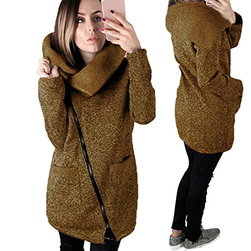 Price comparison product image Gillberry Womens Casual Hooded Jacket Coat Long Zipper Sweatshirt Outwear Tops (Coffee