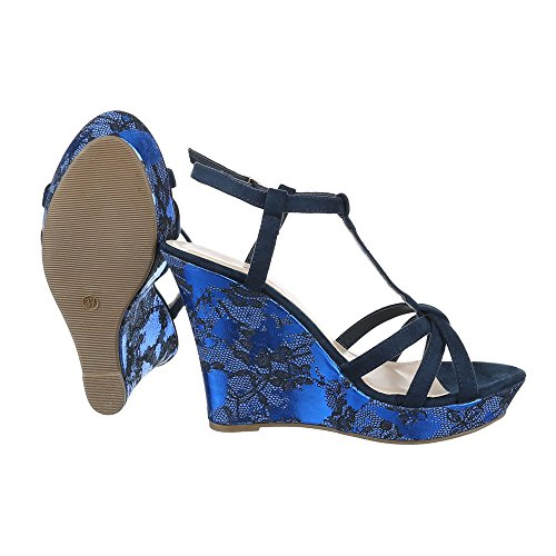 Ital-Design Keilsandaletten Damenschuhe Plateau Keilabsatz/Wedge Keilabsatz Schnalle Sandalen/Sandaletten Blau