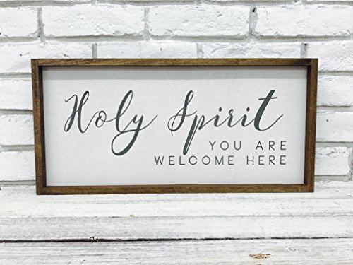 Madi Kay Designs Holy Spirit You Are Welcome Here Spiritual Sign Farmhouse Decor 12'' x 24'' with 1'' walnut stained Wood Frame Bible Verse Sign by Madi Kay Designs