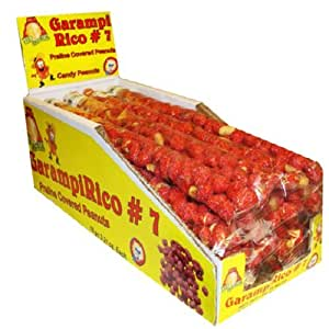 El Azteca Garampi Rico Praline Covered Peanuts in #7 Display Box, 16-Count Bags (Pack of 2)