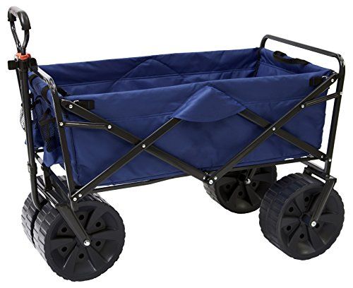 Mac Sports Heavy Duty Collapsible Folding All Terrain Utility Beach Wagon Cart, Blue/Black by Mac Sports