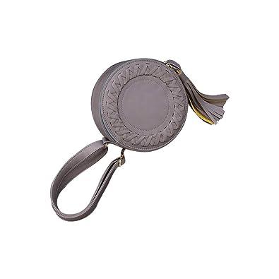 f18c8b17b8 zycShang Sacs Femmes Ronde Les loisirs Une épaule Réglable Tissage Gland  Petit sac rond Sac à