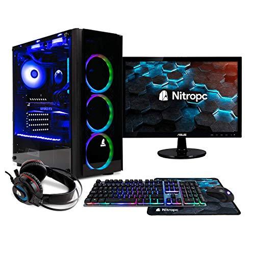 NITROPC – PC Gaming Pack Bronze Rebajas | PC Gamer (CPU Ryzen 3200G 4 x 4,00Ghz (Turbo) | Gráfica Vega 8 2GB) + Monitor 19″ + Teclado + ratón + Cascos | RAM 16GB | M.2 240GB | HDD 1TB