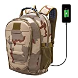 Unisex Traveling 45L Military Backpack Waterproof Cover Support Laptop Camera with USB Charging Port Headset Outdoor Hiking Camping for Men and Women (Sand Digital) (Sand Digital)