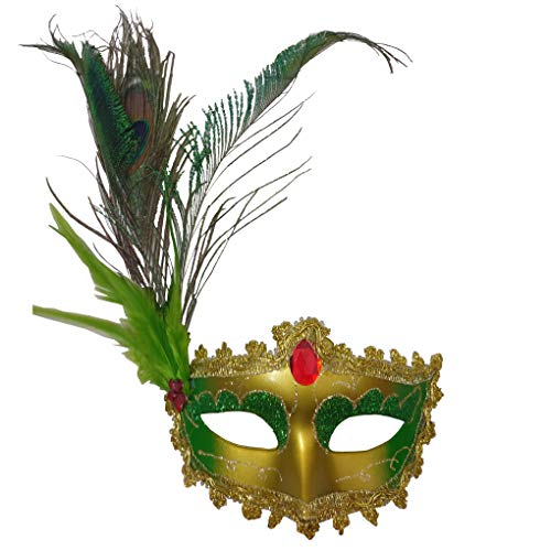 Women's Halloween Costume Venetian Masquerade Carnival Mask Mardi Gras Costume with Feather Flowers Cosplay Party Accessory ()