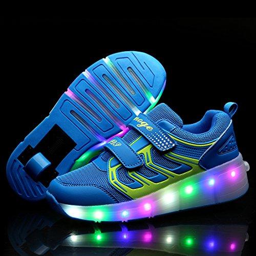 ECOTISH Kinder Jungen Mädchen LED Leuchtet Sneakers mit Einem Roller Skateboard Schuhe Sport Turnschuhe Leuchtend Sport Turnschuhe Blau
