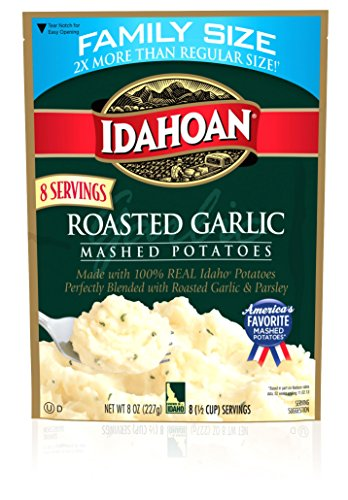 IDAHOAN Roasted Garlic Mashed Potatoes, 8 oz Creamy Garlic Mashed Potatoes