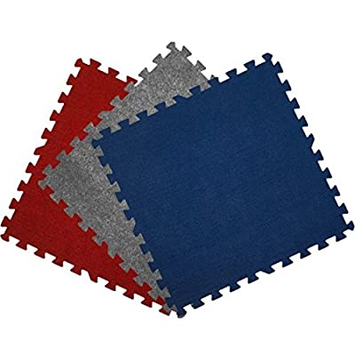 Get Rung Carpet Topped Mat with Interlocking Foam Tiles. Great Alternative to Rolled Carpet . Excellent for Trade Show, Basement or As a Carpet Replacement Mat.