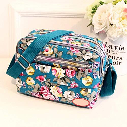Lienzo Floral A Bandolera Mujer Househome Lona De Colores Bolso 6 Para Diagonal Estampado Elegir Con Nuevo Azul YqC4wzC